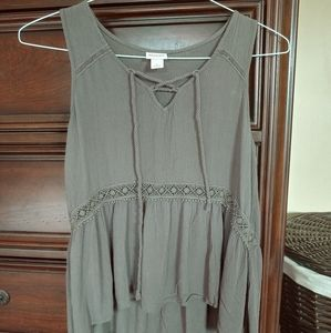 Army green crepe tank top